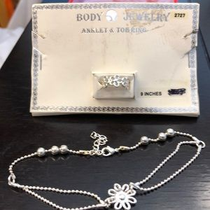 "9"" Silver Daisy anklet and toe ring"